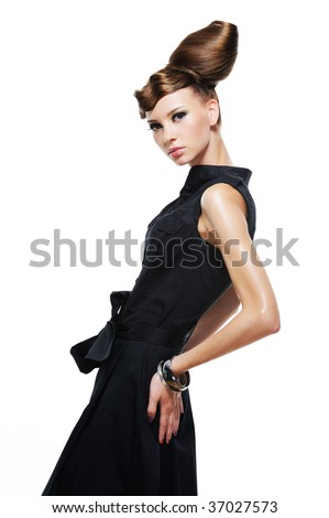 Elegancy stylish glamour girl in fashion black dress - isolated on white - stock photo