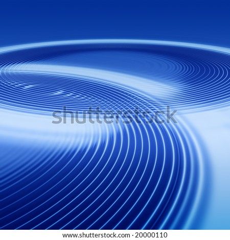 elegant abstract concentric blue ripples with interference and highlight - stock photo