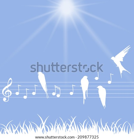 Elegant abstract illustration of music notes with birds - stock photo