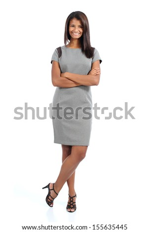 Elegant african american woman posing isolated on a white background            - stock photo