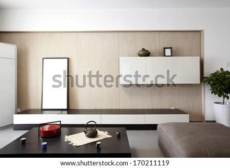 Elegant and comfortable home interior .tv wall - stock photo