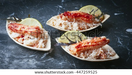 Elegant and delicious morsel of crab and ground for cocktail