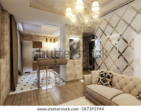 Elegant And Luxurious Modern Living Room Interior Design Chocolate, Beige  And Gold Colors. 3d
