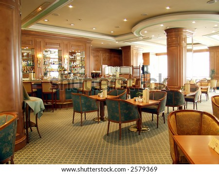 Elegant and luxurious restaurant/bar interior - stock photo