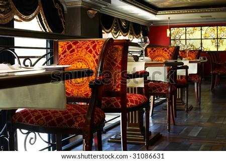 Elegant and luxurious restaurant interior - stock photo