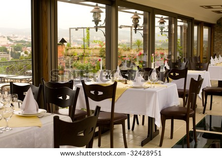 Elegant and luxurious restaurant interior - stock photo