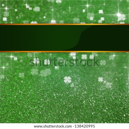 Elegant and luxurious St. Patrick�´s Day illustration: Blank Ribbon on a green glitter and clover bokeh background with sparkling bright stars - stock photo
