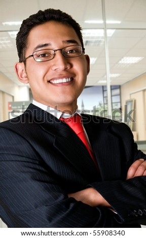 Elegant and smiling business man