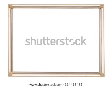 Elegant and unusual, vintage art deco metal picture frame in cream and gold. Isolated on white. - stock photo