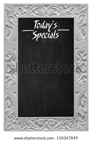 Elegant antique white picture frame with chalkboard - blackboard used as Today`s Specials - isolated on a white background - stock photo