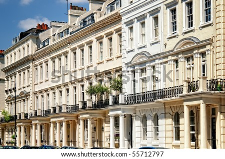 Elegant apartment building in Notting Hill, London. - stock photo