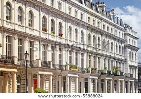 Elegant apartment building in Notting Hill, London. - stock photo
