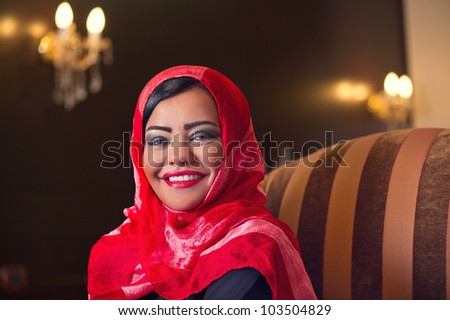 elegant arabian lady wearing hijab in style - stock photo