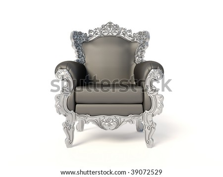 elegant armchair on white background