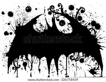 elegant artistic interpretation silhouette  of bat , with patterns and floral elements of the wings, hand-drawn watercolor , black and white