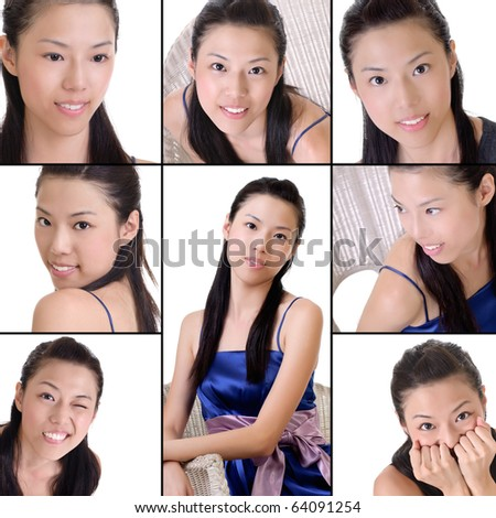 Elegant Asian lady, collection of beauty on white background.