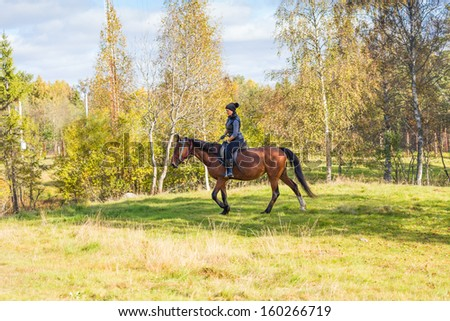 Elegant attractive woman riding a horse - stock photo