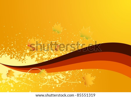 Elegant autumn background with leaves - stock photo