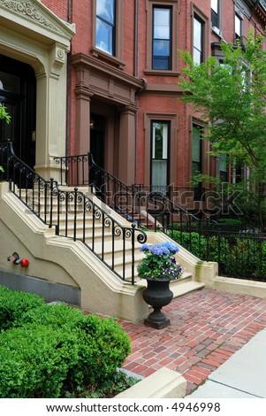 Elegant Back Bay townhouse in Boston, Massachusetts - stock photo