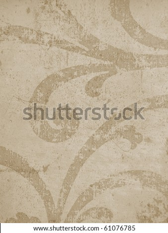elegant background texture paper parchment concrete close up islamic arabic oriental roman  decorative grunge grungy scratched swirl brown vintage. More decors in my port. - stock photo