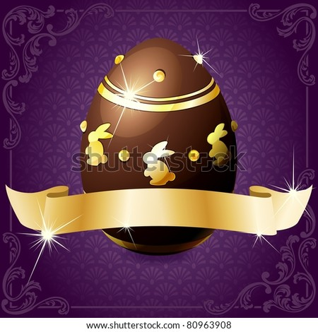 Elegant banner with chocolate egg in purple and gold (jpg); vector version also available - stock photo