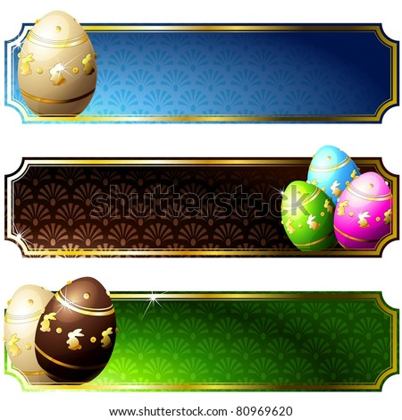 Elegant banners with gold-decorated chocolate eggs (jpg); vector version also available - stock photo