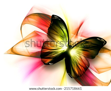 elegant beautiful butterfly on a light background - stock photo