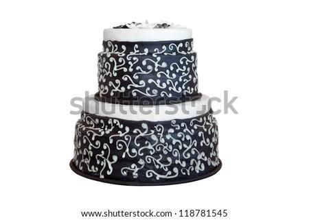 Elegant black and white wedding cake, isolated on white - stock photo