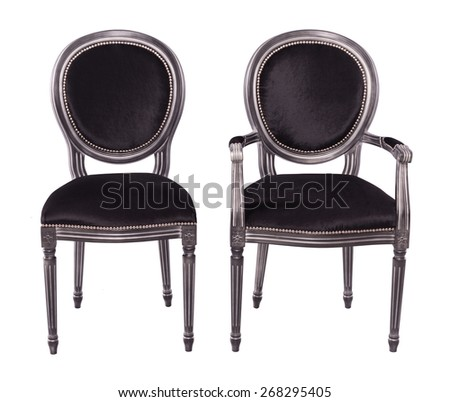 elegant black chairs with metal frame isolated on a white background - stock photo