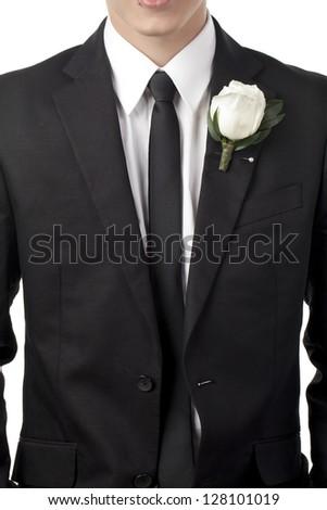 Elegant black graduation suit in a macro image - stock photo