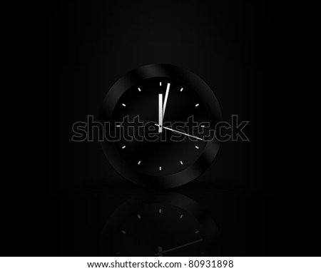 Elegant black wall clock isolated on black with light effect and reflection - stock photo
