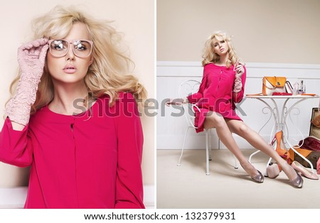 Elegant blondie posing - stock photo