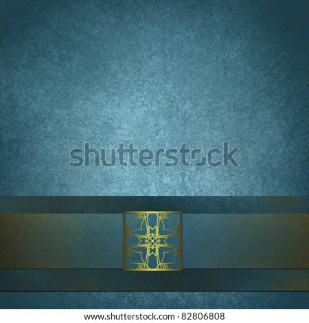 elegant blue background with gold seal, old grunge texture, ribbon, soft light, copy space, and vintage design style - stock photo