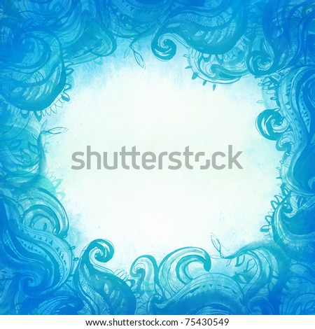 Elegant blue patterned frame painted with watercolor - stock photo