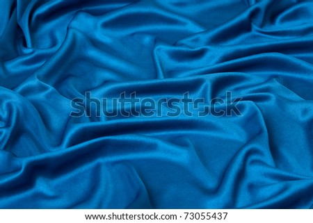 elegant blue silk can use as background - stock photo