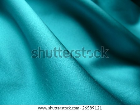 Elegant blue, silky, cotton satin fabric. For Christmas, bedroom, bed sheet, bed linen, table cloth, fashion, abstract, textile interior design background. More of this motif & textiles in my port. - stock photo