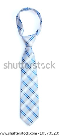 Elegant blue tie isolated on white - stock photo