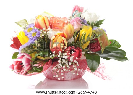 Elegant bouquet isolated on white background - stock photo