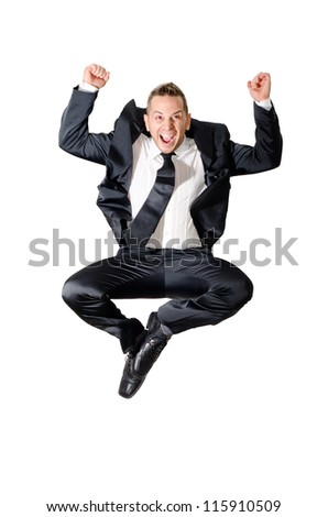elegant boy jumping - stock photo