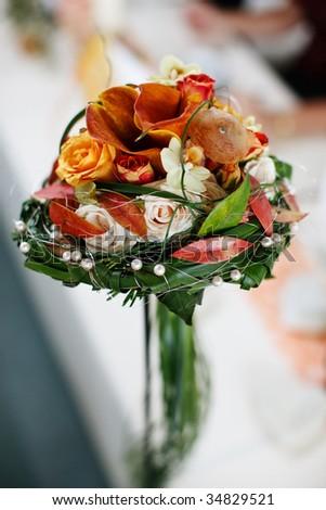 Elegant bridal bouquet with shallow DOF - stock photo