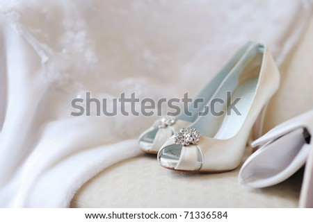 Elegant bridal shoes and a handbag