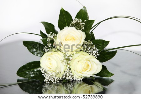 Elegant Bride flowers-bouquet with yellow roses  - Close-up - stock photo