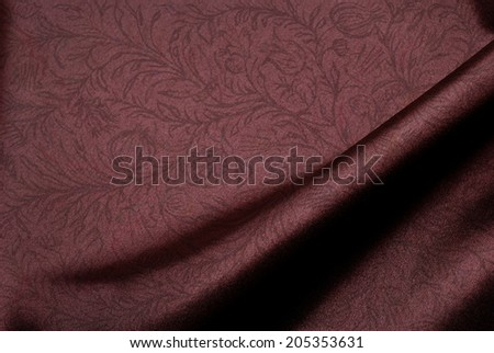 Elegant brown satin background with floral print. - stock photo