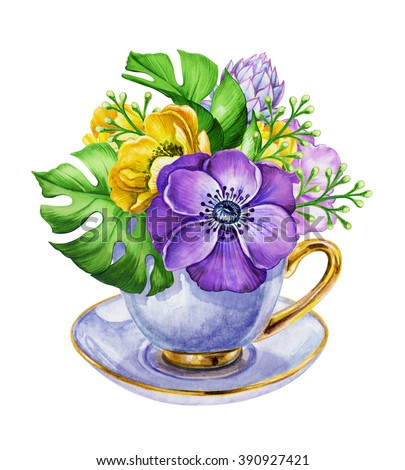 elegant bunch of flowers, anemone in the tea cup, watercolor shabby chic illustration isolated on white background - stock photo