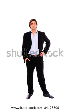 Elegant business man in a suit hands on the hips - isolated over a white background - stock photo