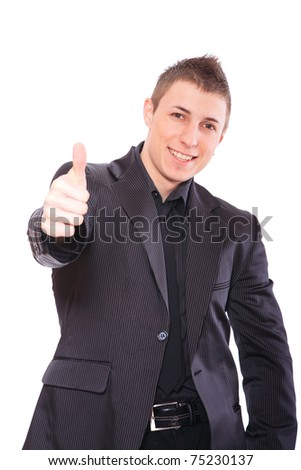 Elegant business man in a suit thumb up - isolated over a white background