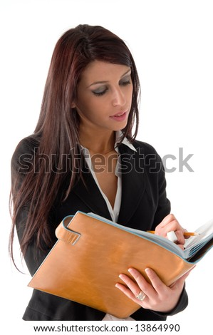 Elegant business woman with her organizer,  isolated on a white background - stock photo