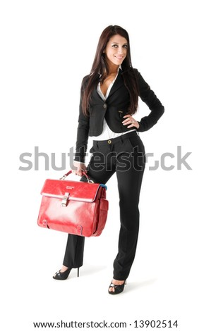 Elegant  business woman with red suite case, isolated on a white background - stock photo