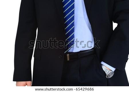 Elegant businessman isolated over white - stock photo