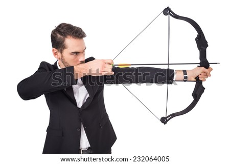 Elegant businessman shooting bow and arrow on white background
